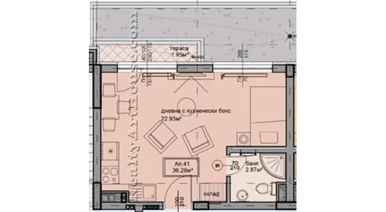 1-СТАЕН апартамент с голяма тераса
