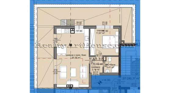 2-стаен апартамент с панорамна тераса в новострояща се сграда кв. Люлин 8